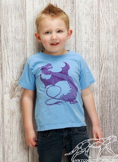 TODDLER DRAGON SHIRT Inspired by Game of Thrones Daenerys Baby Dragons -  Light Blue Cotton Tee with EcoFriendly Waterbased Ink
