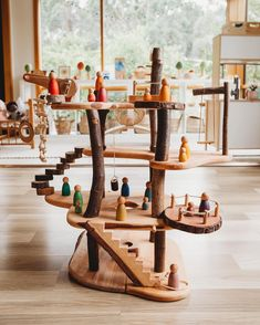 We have this amazing tree house from Oskars Holzarche .- Wir haben dieses erstaunliche Baumhaus von Oskars Holzarche seit ungefähr einem… We have had this amazing tree house from Oskars Holzarche for about a month - Playroom Montessori, Waldorf Playroom, Cool Tree Houses, Fairy Tree Houses, Small World Play, Wood Tree, Wooden Tree House, Diy Toys, Diy For Kids