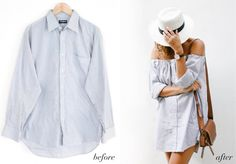 A Pair & A Spare | Before & After: Men's Shirt Into an off the Shoulder Dress