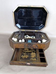 1850s Antique Chinese Export Chinoiserie Sewing Box with Bone Implements