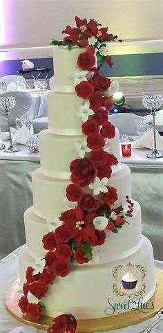 Red Gumpaste Flower Wedding Cake
