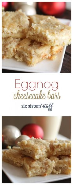 Eggnog Cheesecake from @sixsistersstuff | We love eggnog during the holidays, especially when we can sneak it into some of our favorite recipes! These Eggnog Cheesecake Bars are the perfect combination of cream cheese, cookies, and delicious eggnog. They will be a hit at any holiday gathering!