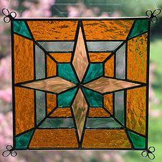 "New 6"" Stained Glass Art Saturn Block Suncatcher 609 | eBay"
