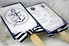 Fan Paddle Wedding Programs - Nautical theme