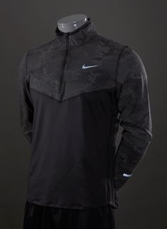 Nike Element Reflective Half Zip Top - Mens Running Clothing - Black-Black-Reflective Silver