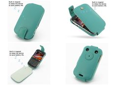 PDair Leather Case for BlackBerry Bold 9900/9930 - Flip Top Type (Aqua)
