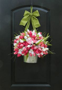 Spring Wreath - Tulip Wreath - Pink Wreath - Easter Wreath - Tulip Pail For all my wonderful customers who have been asking for me to make