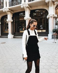 5eaabe4b88 Cute black overall dress with white sweater... My Fav Overall Dresses
