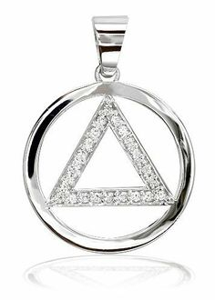 Sterling Silver AA Alcoholics Anonymous Lovely Feminine Pendant,#834-3 Med.Size