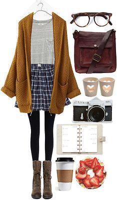 "polkadots-and-coconuts: """" Mustard Chunky Knit Cardigan / Madewell Pocket Tee / Black Tights / Plaid Skater Skirt / Brown Combat Boots / Brown Leather Crossbody Bag / Tortoise Shell Glasses "" "" Combat Boot Outfits, Brown Combat Boots, Casual Winter Outfits, Fall Outfits, Fashion Outfits, Outfit Winter, Skater Skirt Outfit, Skater Skirts, Estilo Geek"