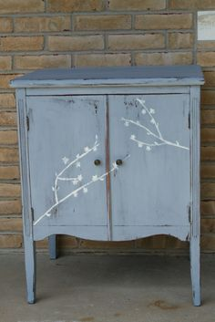 Primitive & Proper: slate old fashioned milk paint cabinet with hand painted branches