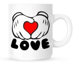 Love Coffee Mug - Mickey Hands, Red Heart Shape, All We Need Is Love