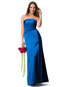 Strapless Satin A-line with Pleated Chiffon Bodice (Style F13573) in Horizon