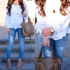IG @mrscasual <click through to shop this look> white peasant top.  vigoss distressed skinny jeans.  chloe marcie satchel.  long initial necklace.