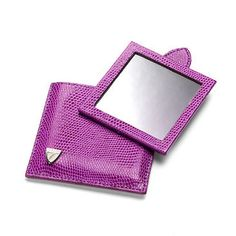 Compact Travel Mirror in Violet Lizard & Cream Suede - Luxury Leather Wallets, Leather Handbags, Cufflinks - British Luxury Leather Goods from Aspinal of London