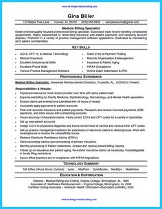 find this pin and more on resume sample template and format - Medical Coding Resume