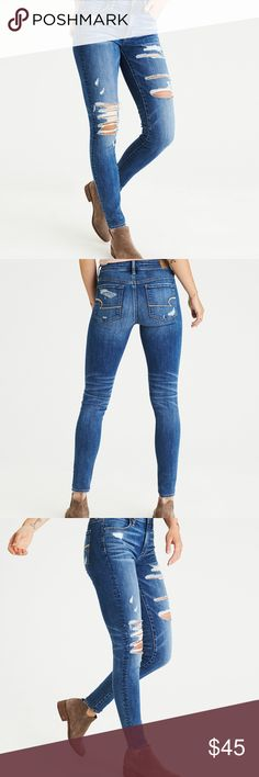 NWT AE 4S High Waisted Jegging Super super stretch. Size 4 SHORT. Please only bundle with other items in my closet labeled with a heart.  TAGS: skinny jeans, American Eagle, AEO, destroyed jeans, ripped jeans American Eagle Outfitters Jeans Skinny