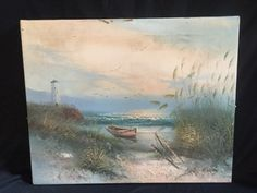 H. GAILEY SIGNED PLEIN AIR SEASCAPE OIL ON CANVAS DEPICTING A DINGHY ON THE SHORE WITH A LIGHTHOUSE IN THE BACKGROUND. MEASURES 20W X 16H