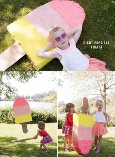 LOVE this idea of a popsicle pinata! 10th Birthday Parties, 4th Birthday, Birthday Ideas, Popsicle Party, Party Time, Party Party, Party Ideas, Garden Birthday, Ice Cream Party