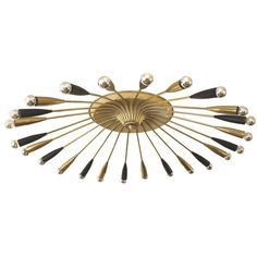 Massive 24-Arm Brass Chandelier, Italy 1960s   See more antique and modern Flush Mount at https://www.1stdibs.com/furniture/lighting/flush-mount-ceiling-lights