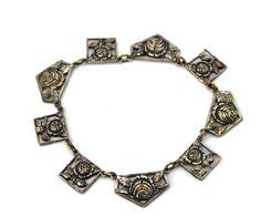 Vintage Silver Tone Rare Flower Filigree Link Slide In Bracelet #Unbranded #Link