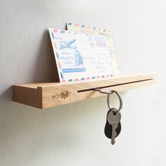 WOKEY M keyholder oak wood designed by WOHOOD Smart Wood Products made in Netherlands as part of Home Accessories and Home Decor and Hangers & Hooks and Storage & Organizers and Wall decorations - image 1 on CROWDYHOSUE Wall Decoration Images, Wall Decorations, Wood Projects, Woodworking Projects, Woodworking Skills, Woodworking Plans, Boho Dekor, Key Rack, Wood Design