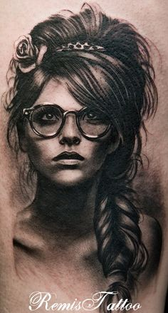 Black and grey portrait tattoo by Remigijus ,,, seriously this is the best portrait tat ive ever seen the art work and shade everything is so pristine.