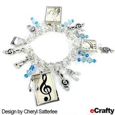 DIY Music Maker's or Music Lover's Chain Maille Charm Bracelet Recipe from eCrafty.com #music #charms #charmbracelet #diybracelet #crafts #ecrafty #beads #beading #music charms