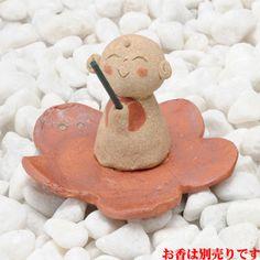Jizo-San 冨地 storage dish incense [H6.5cm] HANDMADE gift gifts Japanese with cute decor