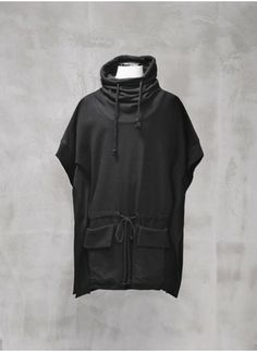 Mens Drape Turtle Neck Raw Cut Jersey Poncho at Fabrixquare () - Svpply
