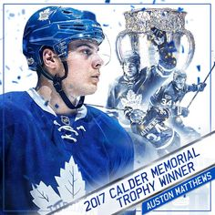 After a season that ranked first among NHL rookies in both categories and second in the entire NHL in goals, Auston Matthews is the 2017 Calder Memorial Trophy winner as NHL Rookie of the Year. Hockey Teams, Ice Hockey, Hockey Stuff, Nhl Awards, Maple Leafs Hockey, Hockey Pictures, Hockey Boards, Ice King, Toronto Maple Leafs