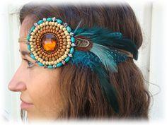 Native American Beaded Headbands | Teal Blue Bohemian Feather Native Beaded Headband by neesiedesigns