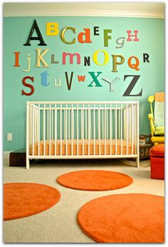 Obsessed with the letters of the crib and think I might have to do this for Jackson's room
