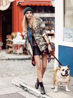 Cara Delevingne for Pepe Jeans Fall 2013 Campaign. Beanie, boots and military jacket