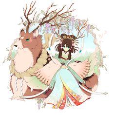 Anime Girl in Kimono with Deer — I love the deer's markings! Such beauty!