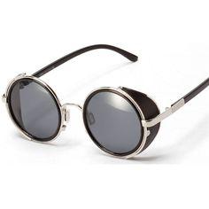 2016 Steampunk Round Leather Side Round Women Sunglasses Wrap Alloy Original Sunglasses Lado Couro Rodada Mulheres Oculos De Sol #Affiliate