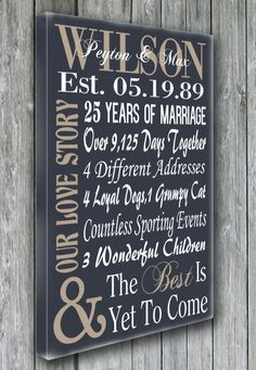 Personalized 5th 15th 25th 50th Anniversary by doudouswooddesign. - a couple of 25th anniversaries coming up!