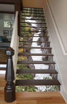 Maligne River Stair 66 Risers Staircase Stairway Stairs Risers Stickers Mural Photo Mural Vinyl Decal Wallpaper Removable - coole Wohnideen - Pictures on Wall ideas Future House, My House, Decoration Photo, 3d Home, Stair Risers, Stair Steps, Stair Railing, Beautiful Waterfalls, Interior Exterior