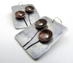 Mixed Metal Earrings with Copper Flowers