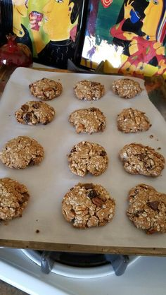 GF Oatmeal cookies 1 c gf flour (1/3 c each brown rice, oat, coconut flour) 1/4 tsp salt 1 tsp baking soda 1/2 c. coconut sugar 3 Tbs honey 4 tsp. melted butter1 c. almond butter, softened 1 jumbo organic egg 1Tbsp almond milk 1 tsp vanilla extract 3 rounded Tbspflaxseed meal 1 1/2 c rolled oats1/2 c.shredded coconut.Cinnamon/nutmeg to taste.Opt: raisins, pecans, chocolate chips.Mix flours, soda, and salt.Cream almond butter, sugar, butter. Add egg, alm. milk and dry ingredients. Stir…