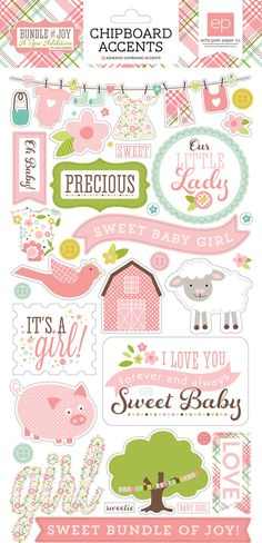 Echo Park - Bundle of Joy New Addition Collection - Girl - Chipboard Stickers: You will love the sweet pastel shades of the Girl Chipboard Stickers from the Bundle of Joy New Addition Collection. Create precious layouts, tags, announcements, invites, and Planner Stickers, Baby Stickers, Scrapbook Stickers, Printable Stickers, Printable Planner, Scrapbook Cards, Project Life, Baby Girl Scrapbook, Diy And Crafts