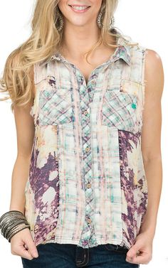 Miss Me Women's Plum Multicolor Plaid Blended Sleeveless Top | Cavender's
