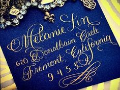 Navy blue envelope and gold calligraphy | Calligraphy by Jennifer