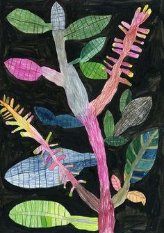 "illustration japonaise : Miroco Machiko, ""Vibrant Flora and Fauna"", feuillage Art Floral, Motif Floral, Art And Illustration, Botanical Illustration, Guache, The Design Files, Naive Art, Japanese Artists, Botanical Art"