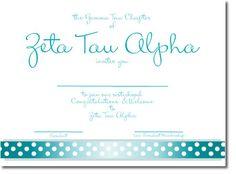Zeta Tau Alpha Sorority Bid Day Cards. Cute Ribbon Design. Custom made for your ZTA Sorority Recruitment. http://www.trulysisters.com/zeta-tau-alpha-sorority/bid-day-cards/invitation-style-b/