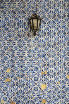 Blue Patterned Wall Tiles. Vintage Lantern