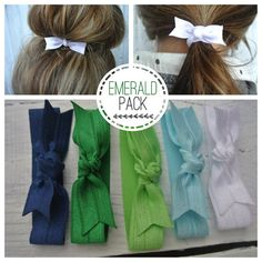 bow hair tie ponytail holders - emerald pack of stretchy no dent no damage  fold over elastic ribbon knotted ties c2b311e7b38