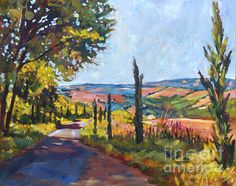 Tuscan Country Road - acrylic on canvas by David Lloyd Glover Road Painting, Impressionist Paintings, Art For Art Sake, Artist Names, Beautiful Landscapes, Art Boards, Sculpture Art, Fine Art America, Photo Art