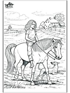 Horse and Rider Printable Coloring Pages | Cowboy and ...