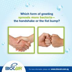 Did you know? Handshakes transfer 10 times more bacteria than fistbumps, as the area of contact made is larger. No matter how you choose to greet someone, keep in mind there's anti-bacterial BioCair pocket spray to help disinfect, instantateously.